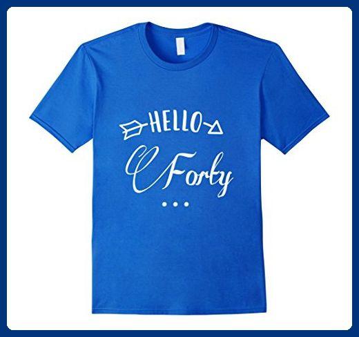 Mens Hello Forty Boyfriend Girlfriend Birthday Gift T Shirt Large Royal Blue