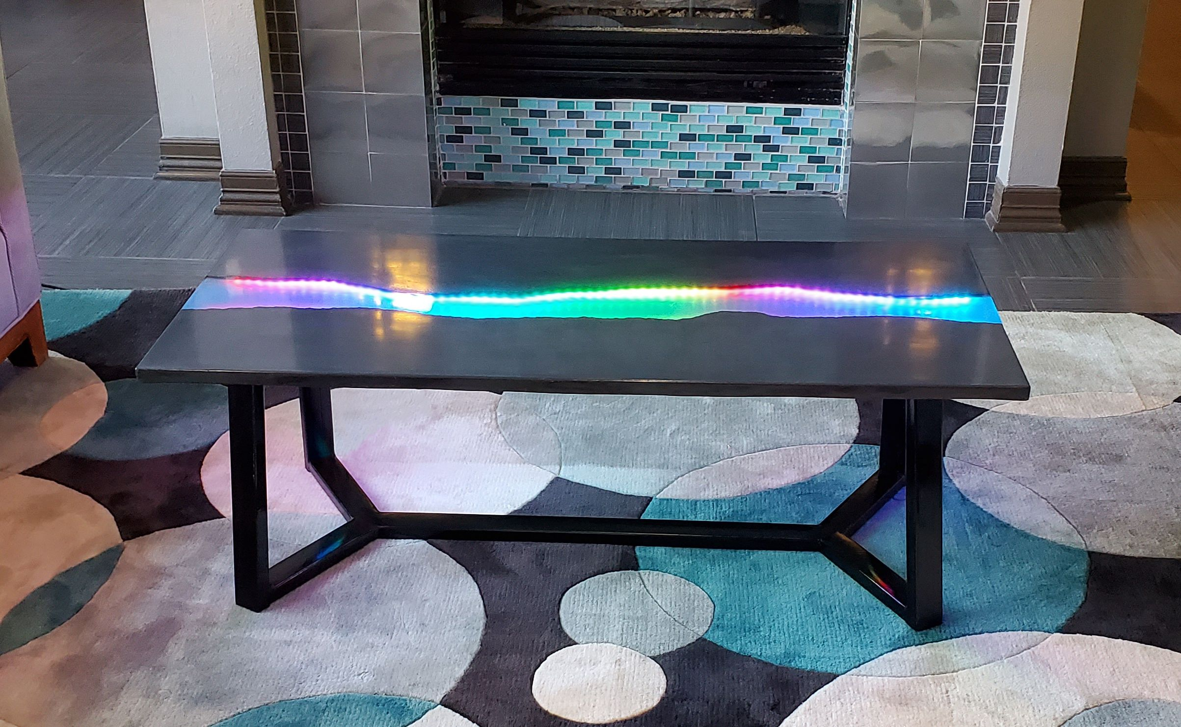 Concrete Live Edge Epoxy River Coffee Table With Led Backlight Table Unique Items Products Dining Table [ 1482 x 2406 Pixel ]