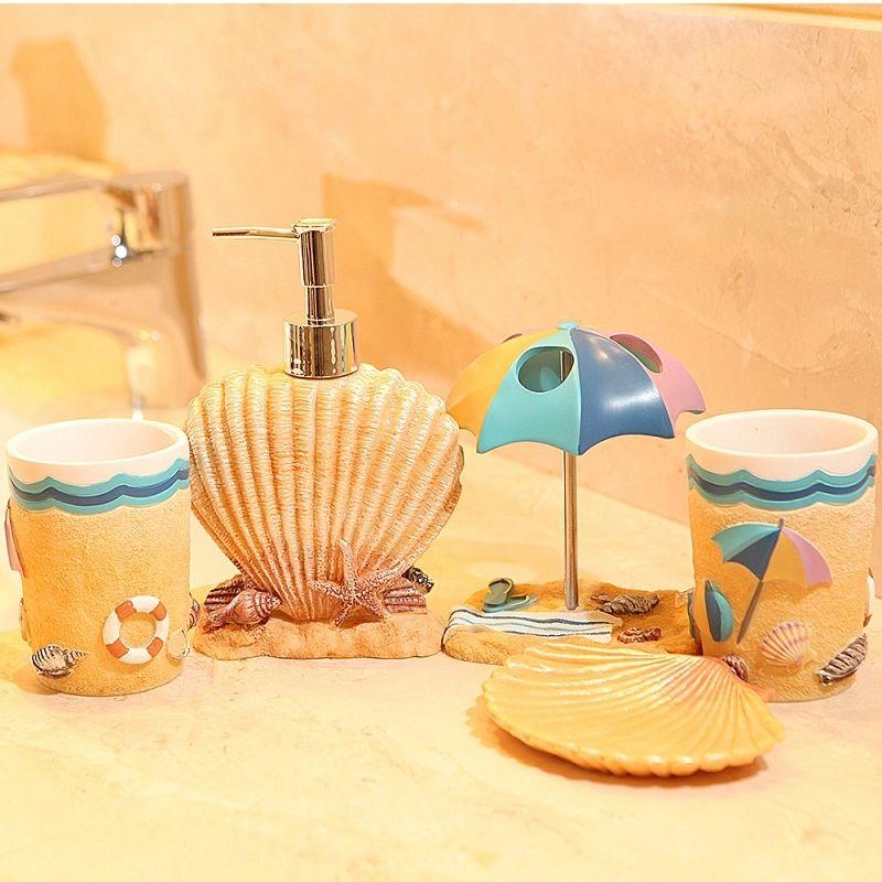 Five Pieces Resin Bathroom Set Fashion Resin Summer Beach Subject