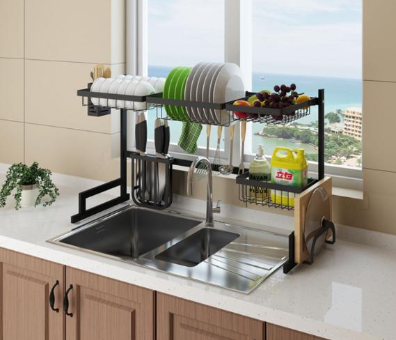 Hot Stainless Steel Drain Rack Diylux With Images Black Stainless Steel Kitchen Interior Design Kitchen Chic Kitchen Decor