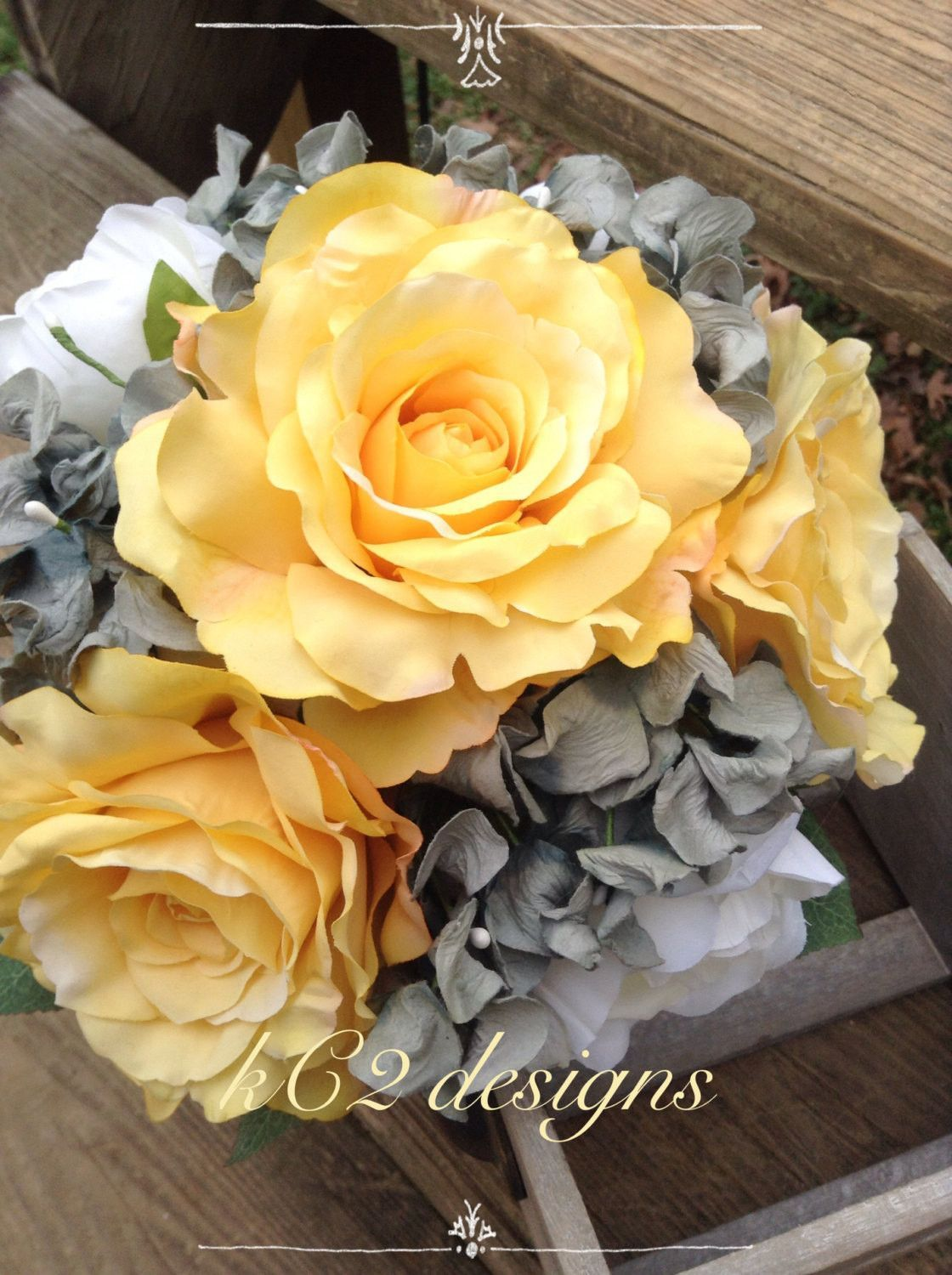 Yellow Wedding Bouquet Yellow And Gray Silk Flower Wedding Bouquet