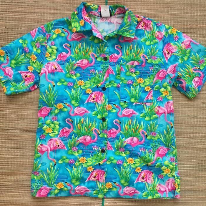 Activewear Unlimited Womens Pink Flamingo Hawaiian Shirt
