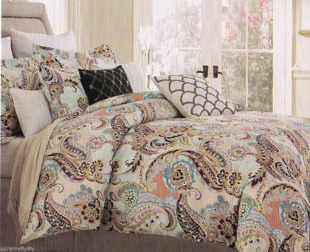 Cynthia rowley king paisley aqua lime green blue brown peach 6 pc comforter set cynthiarowley