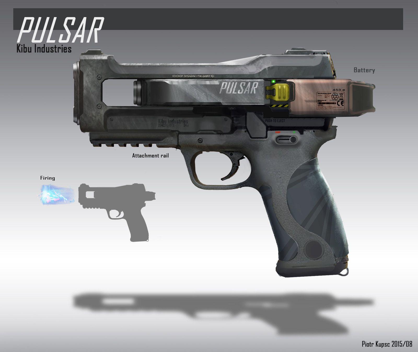 Pulsar Gun, Piotr Kupsc on ArtStation at https://www.artstation.com/artwork/pulsar-gun