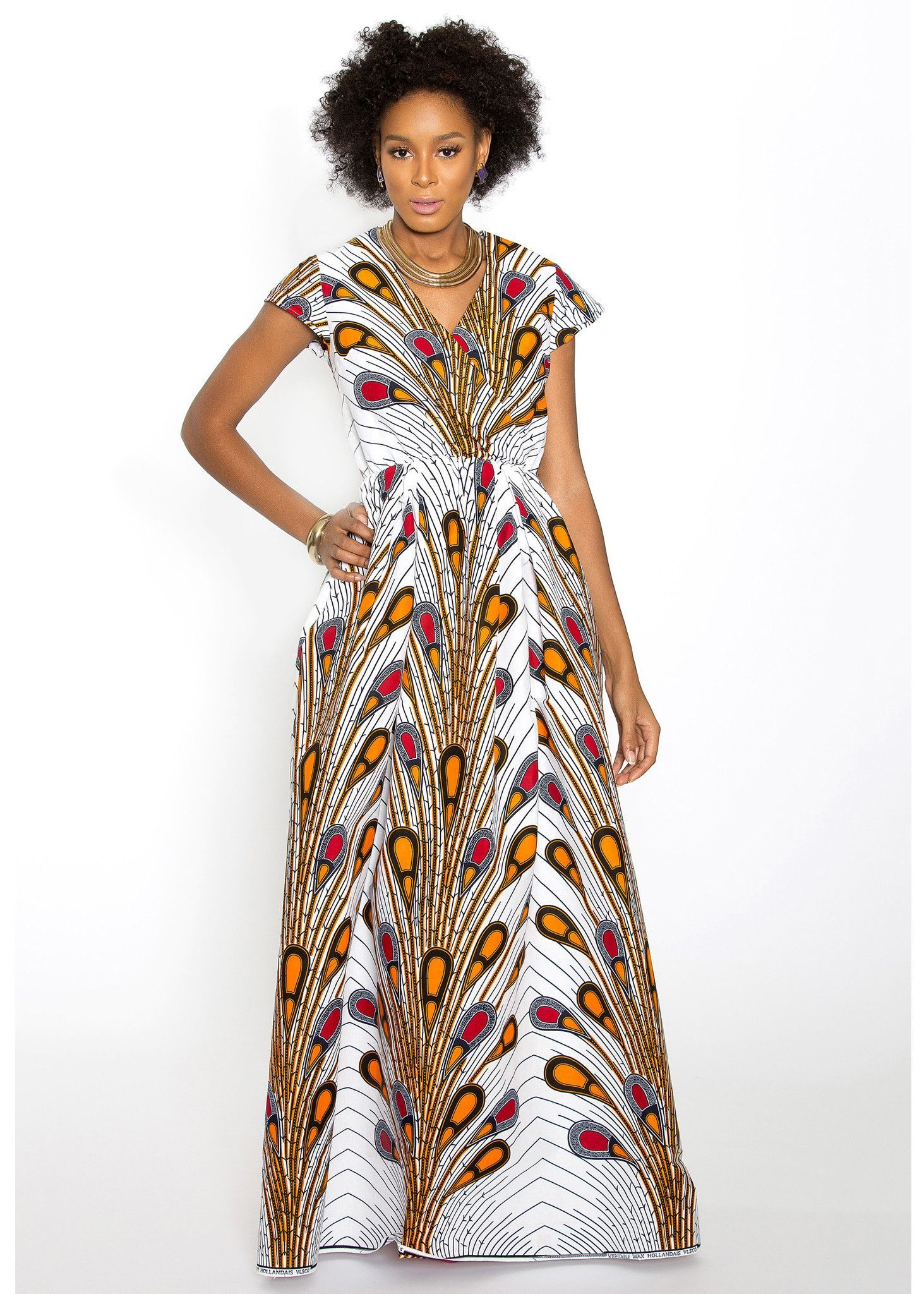 hadiya african print faux wrap maxi dress white peacock