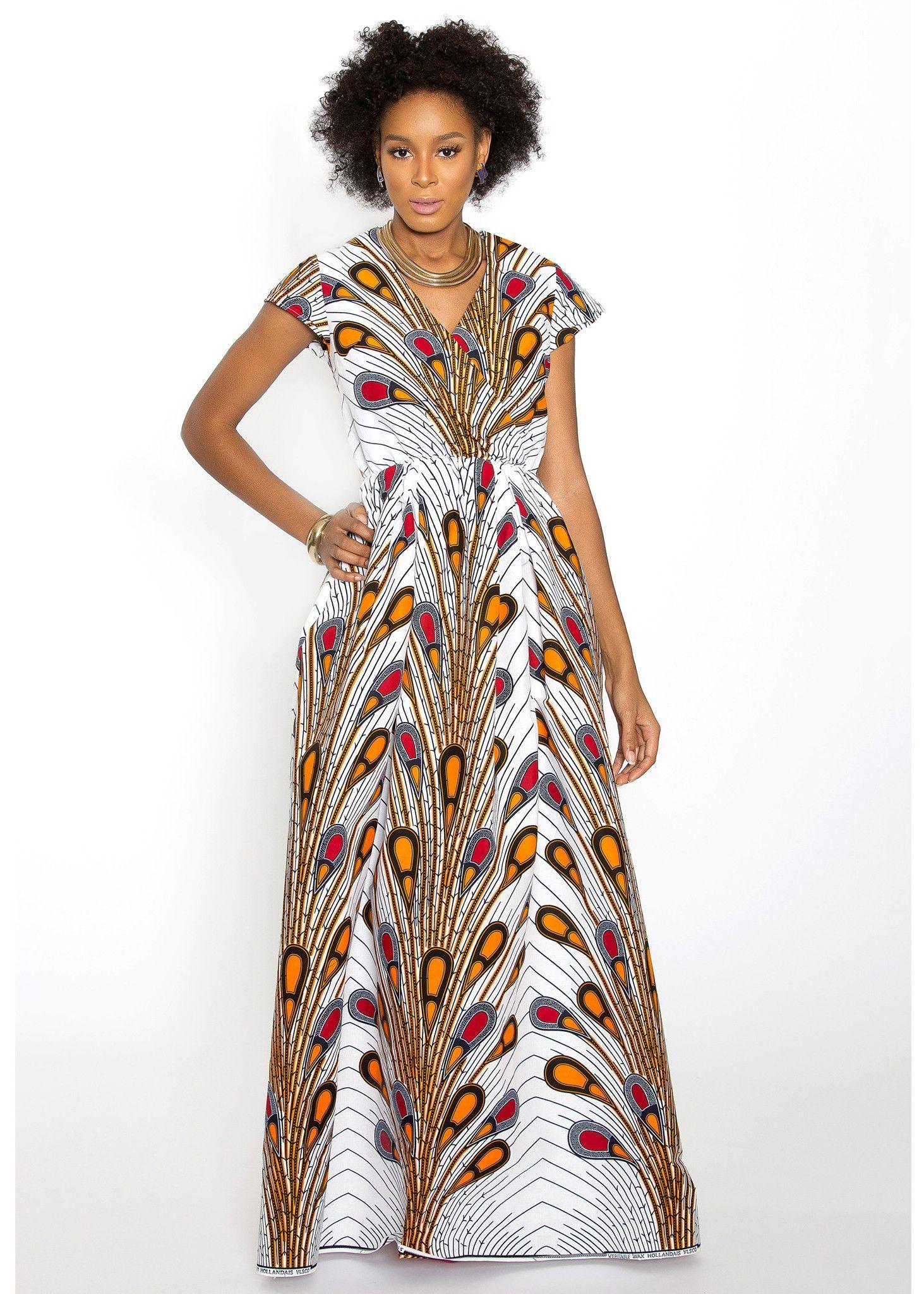 Hadiya African Print Faux Wrap Maxi Dress (White Peacock Feathers ...