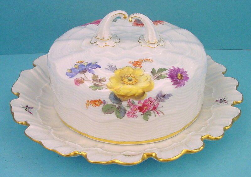 Meissen Butterdose Blumen mit Insekten 1860-1924  Seltenheit