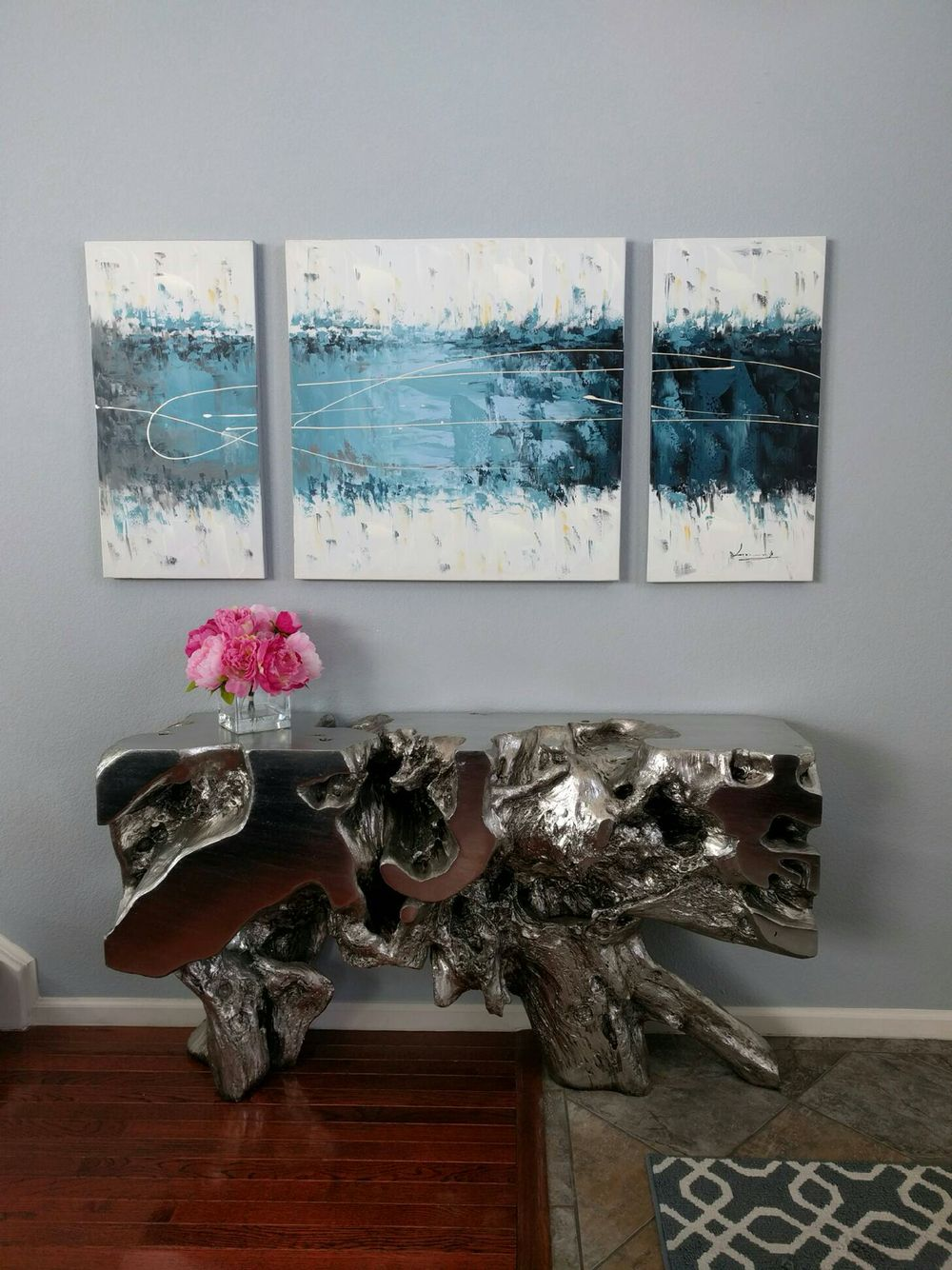 Z Gallerie Sequoia Console Table In Silver, Peony Flowers, Abstract  Painting | House Design Ideas | Pinterest | Peony Flower, Console Tables  And Consoles
