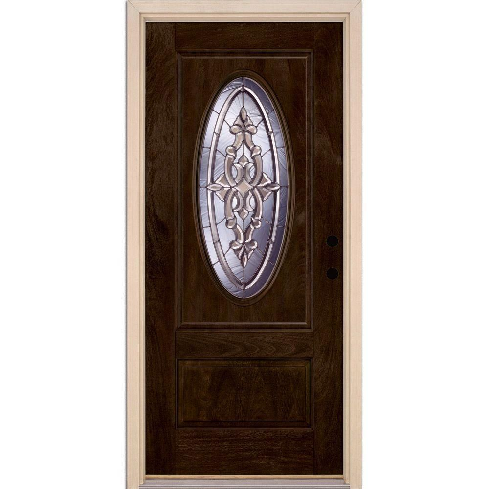 Feather River Doors 37 5 In X 81 625 In Silverdale Zinc 3 4 Oval Lite Stained Chestnut Mahogany F Fiberglass Door Mahogany Entry Doors Fiberglass Entry Doors