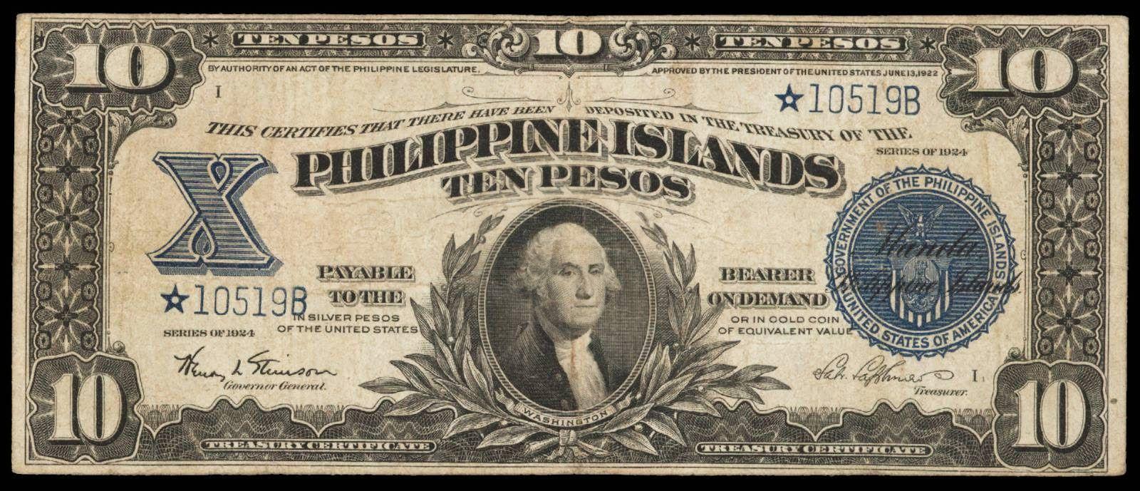 Philippine Islands 10 Pesos Treasury