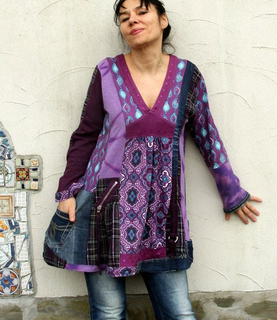 Reserved for Bonnie, do not purchase this item. Deep purple sweaters and denim patchwork - sweater tunic. Made from recycled denim, Tshirts and
