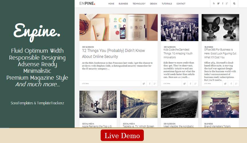 Enpine. Blogger Template Soratemplates Premium Blogger