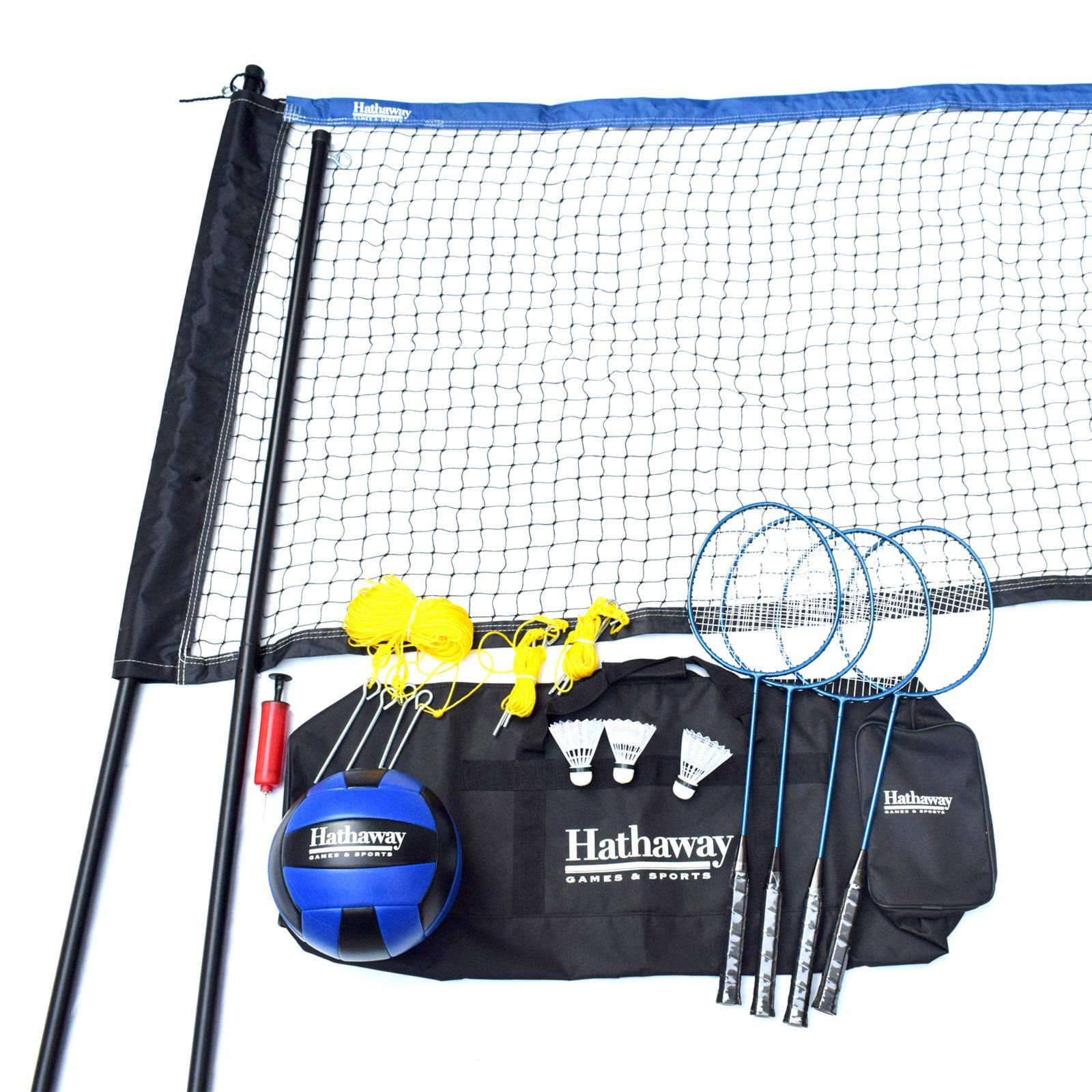 Hathaway Volleyball Badminton Complete Combo Set Badminton Set Shuttlecocks Badminton