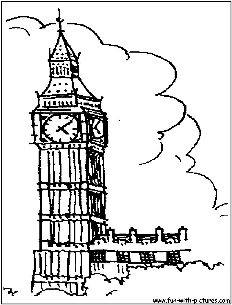 Big Ben Coloring Page   London clock tower, London clock, Coloring ...