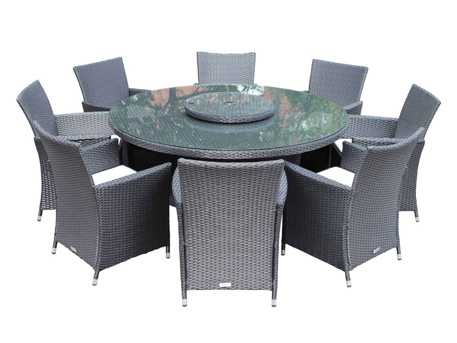 8 Cambridge Chairs With Large Round Table Dining Set With Free Lazy Susan    Black U0026