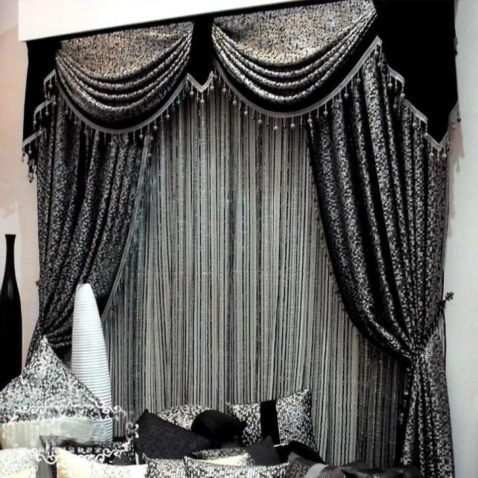 Black color curtain design for contemporary living room for Black and white curtain designs