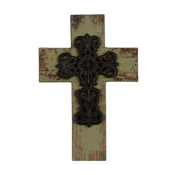 Distressed Green Wooden Cross Plaque   Kirklands
