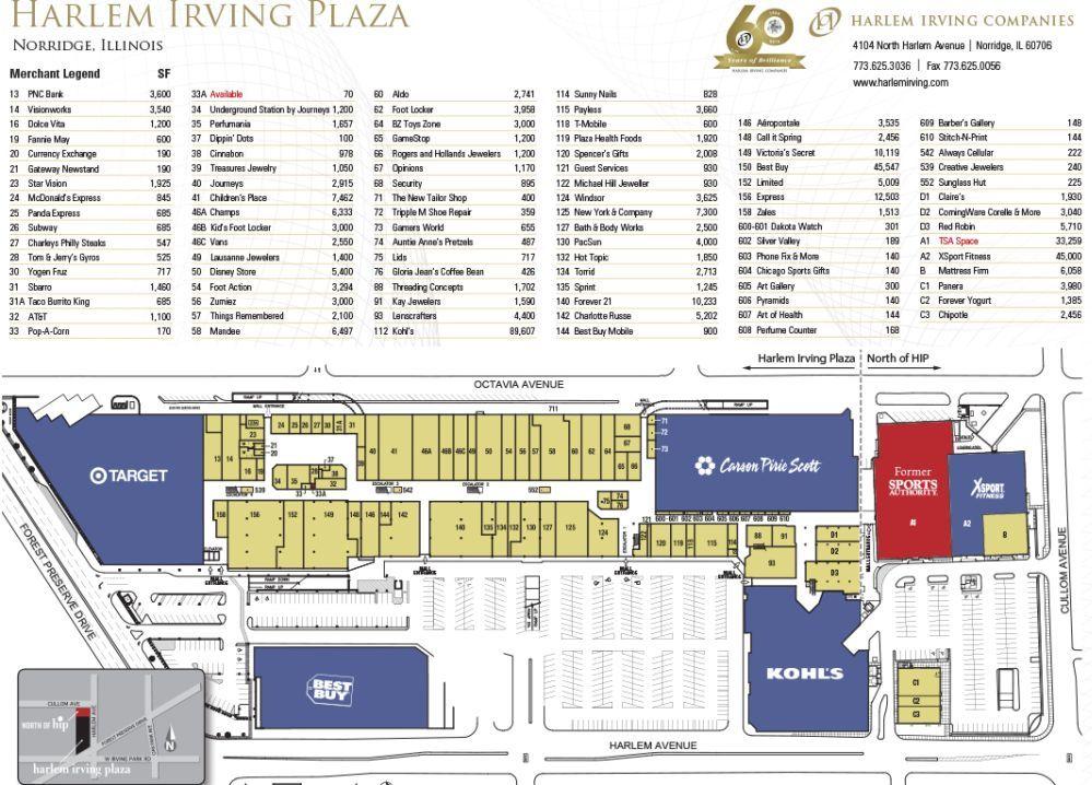 Harlem Irving Plaza Shopping Plan Irving Plaza Harlem Illinois