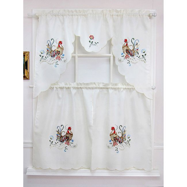 Add This Rooster Sunrise Tiered Curtain Set To Any Casual Room Setting These Classic Curtains