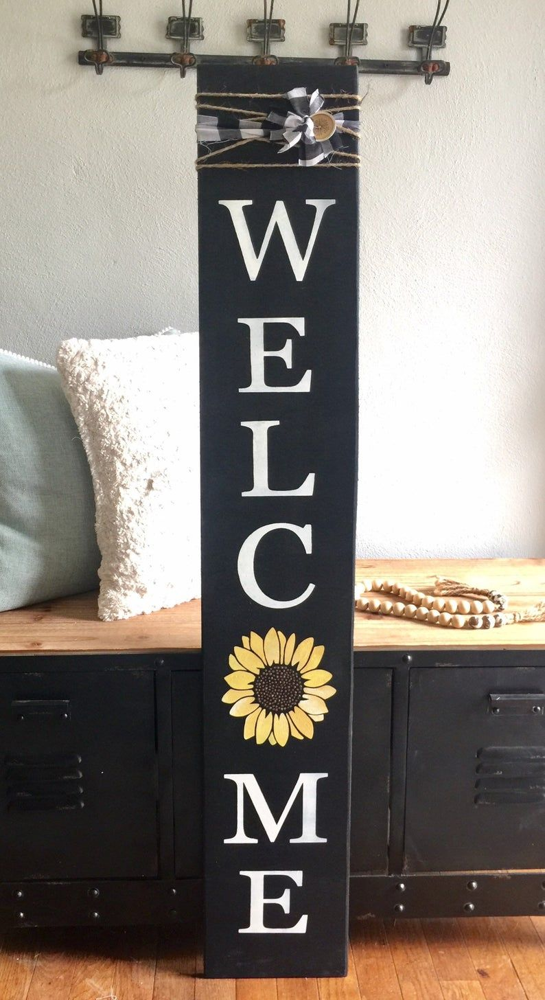 Wooden Welcome Sign Porch Sign Sunflower Welcome Sign Etsy In 2020 Wooden Welcome Signs Diy Wood Signs Front Porch Decorating