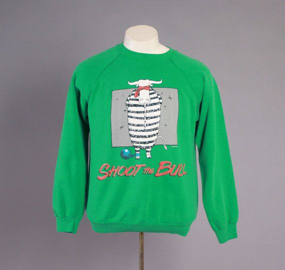 Vintage 80s SWEATSHIRT / 1980s Shoot The Bull Gary Larson Style Novelty Crewneck Pullover M - L #vintage #men #menswear #mensfashion #vintagefashion #mens #80s #80sfashion #sweatshirt #sweater #crewneck #pullover