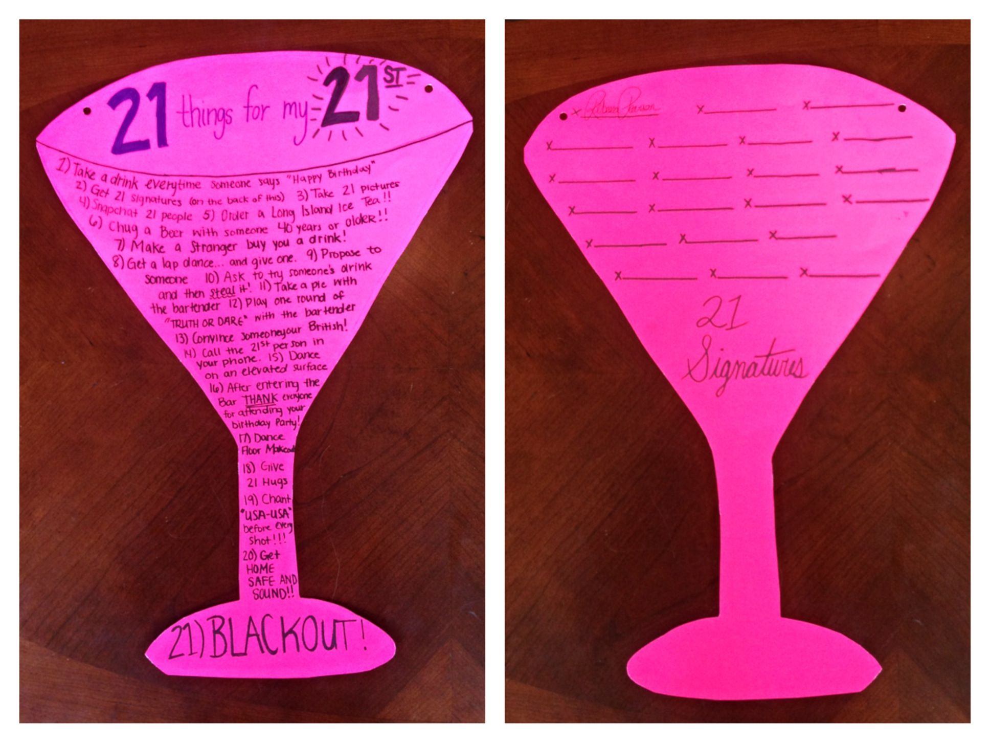 21 things poster 21st birthday Holiday Crafts Pinterest 21
