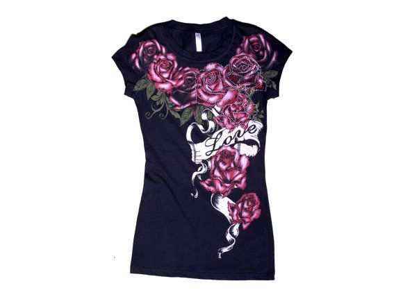 Women Graphic Tee Rose Love with Rhinestone by Couthclothing, $12.00