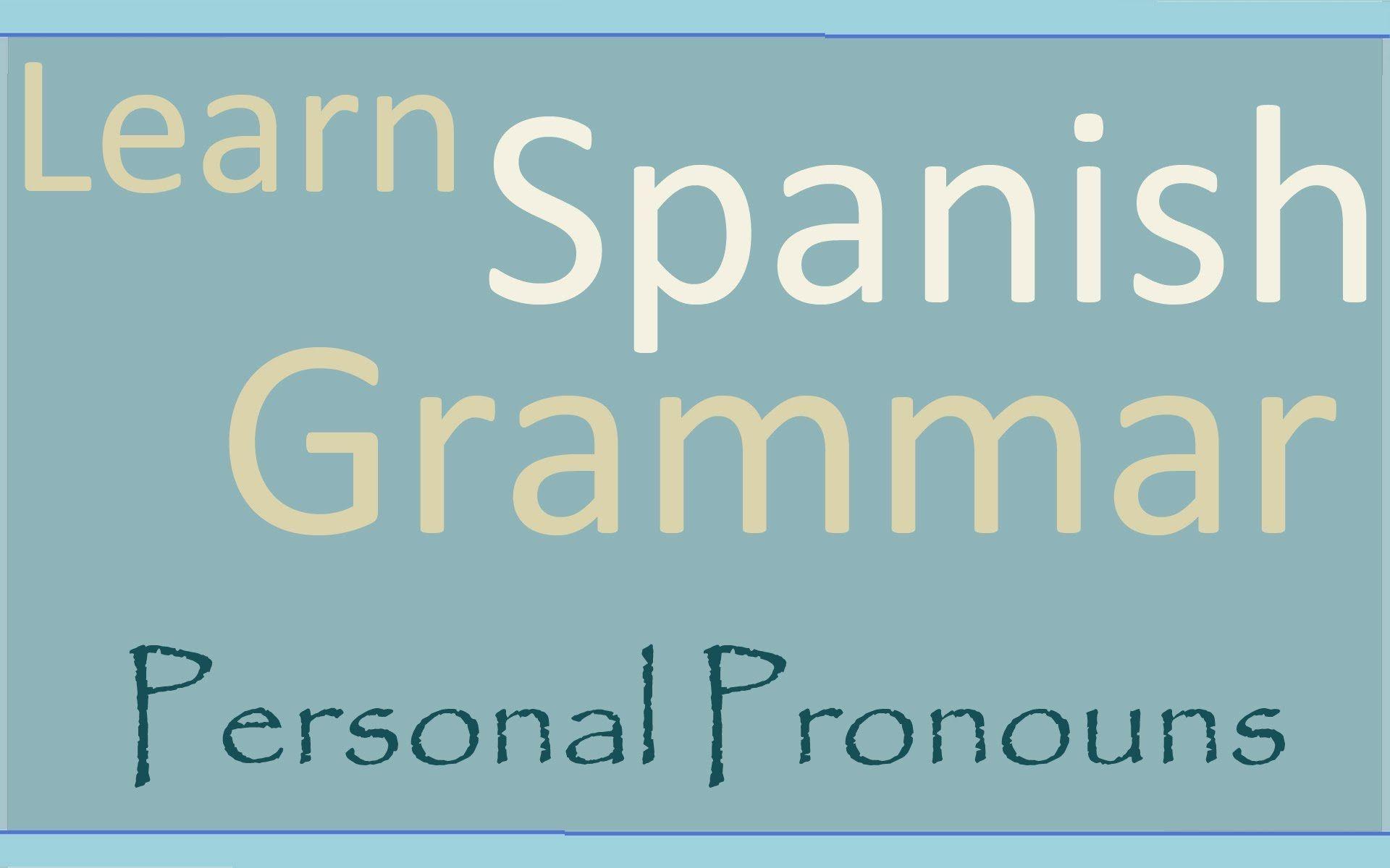 Learn Spanish Aprende Ingles Personal Pronouns
