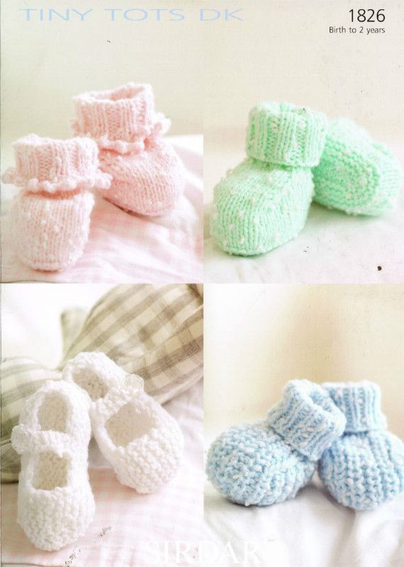Sirdar 1826 baby bootees baby knitting pattern Listing in the Baby ...