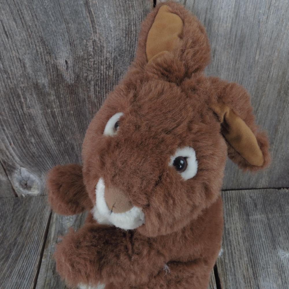 Vintage Bunny Plush Brown White Rabbit Stuffed Animal Easter Life Like