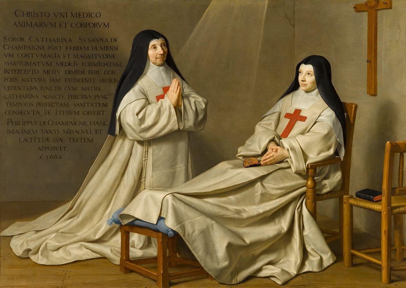 Philippe de Champaigne. La Mère Catherine-Agnès Arnauld (1593-1671) et la sœur Catherine de Sainte Suzanne Champaigne (1636-1686), fille de l'artiste, dit Ex-voto de 1662, 1662. Hst, 1,65 x 2,29 m. Musée du Louvre.