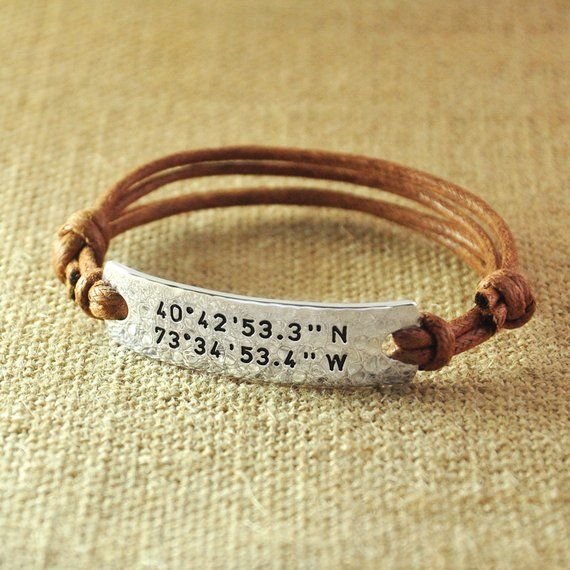 09f035f27cfba Personalized Rope Bracelet, Alloy hammered Custom Longitude Latitude ...
