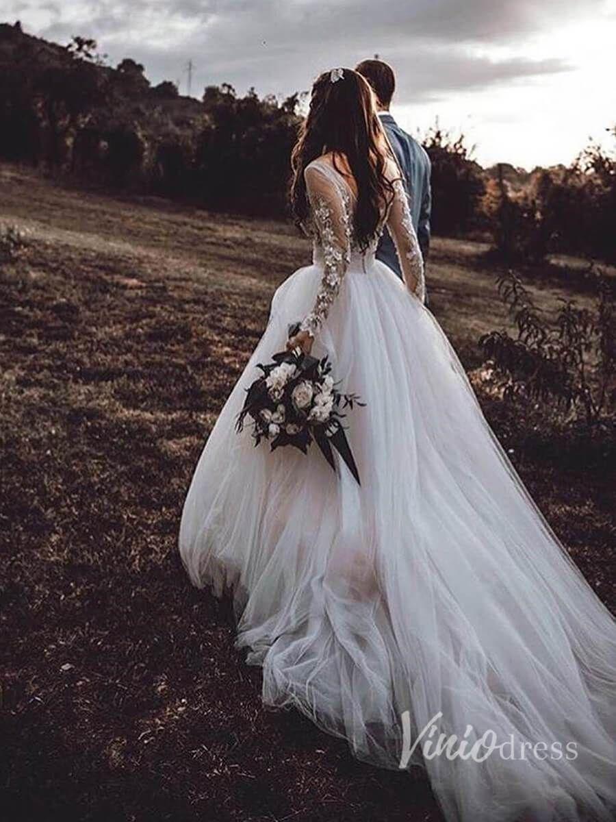 Long Sleeve Floral Wedding Dresses Rustic Bridal Dress Viniodress Vw1117 In 2021 Ball Gowns Wedding Cheap Bridal Dresses Tulle Wedding Gown [ 1200 x 900 Pixel ]