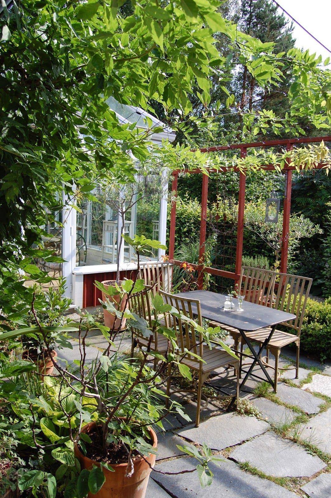 Little Greenhouse With Patio And Rusty Steel Trellis.Trädgård Och Keramik