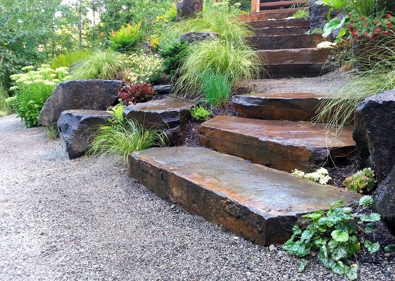 Snohomish natural stone risers by Sublime Garden Design - Snohomish Natural Stone Risers By Sublime Garden Design Sublime