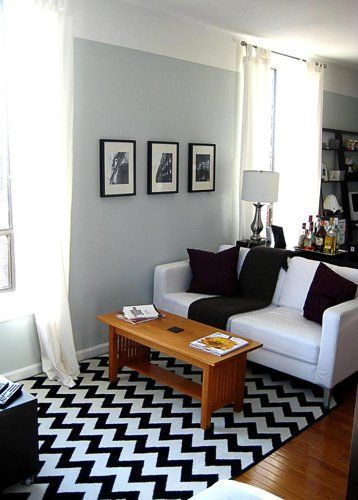 Black And White Living Room With A Chevron Rug Black And White