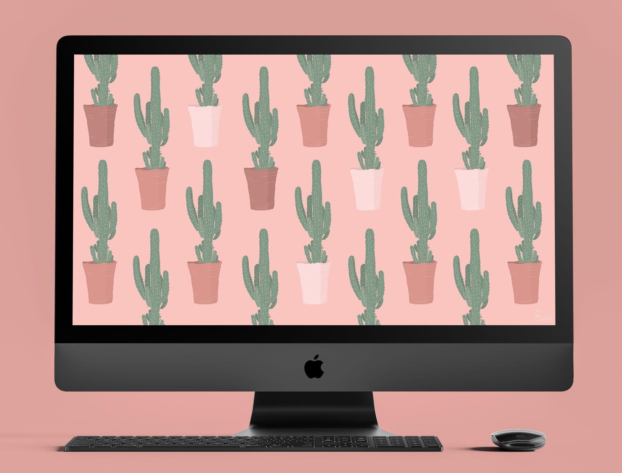 Cactus Print Pink Desktop Wallpaper Plants Desktop Background Computer Wallpaper Ipad Bot Pink Wallpaper Laptop Plant Wallpaper Pink Wallpaper Ipad