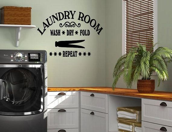 Laundry Room Wall Decal Wash Dry Fold Repeat By TheLittleReasons