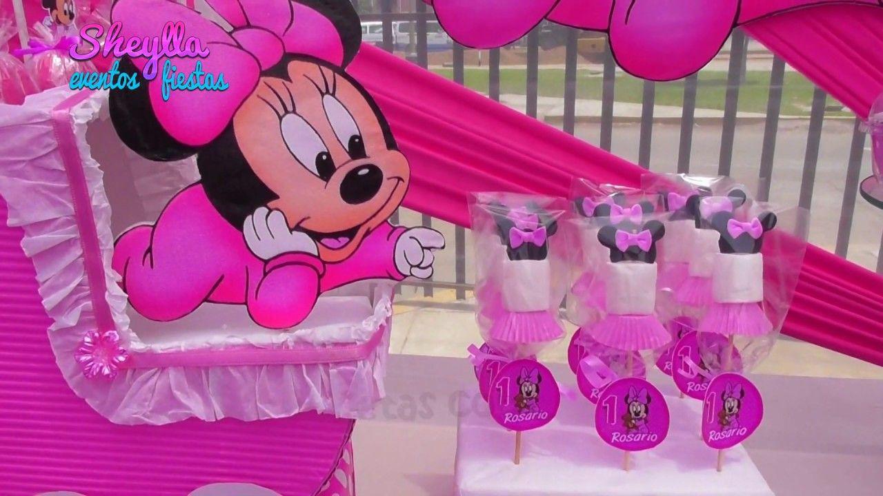 Minnie Bebe Linda Decoración Y Toldo Temático Para Cumpleaños De Niñas Minnie Minnie Mouse Party Birthday Centerpieces