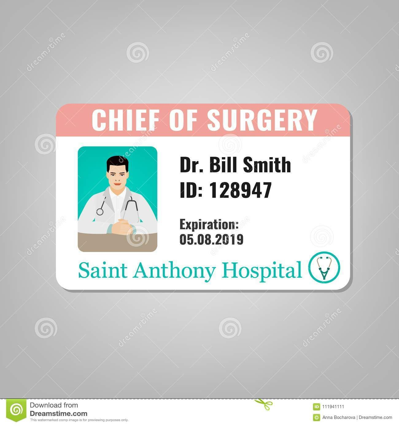 Doctor Id Card Stock Vector Illustration Of Health 111941111 For Hospital Id Card Template Cu Id Card Template Card Template Business Card Template Design