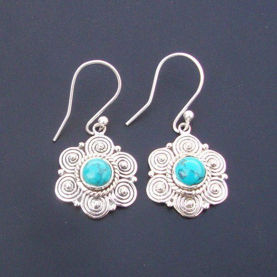Vintage Silver Gemstone Turquoise Stud Dangled Earrings Jewelry Party Gifts
