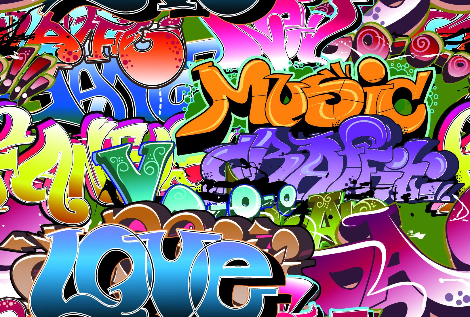 Free vector beautiful graffiti font design 04 vector