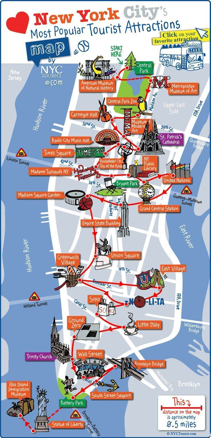 Map Of New York City For Tourists.New York City Most Popular Attractions Map Family Travel