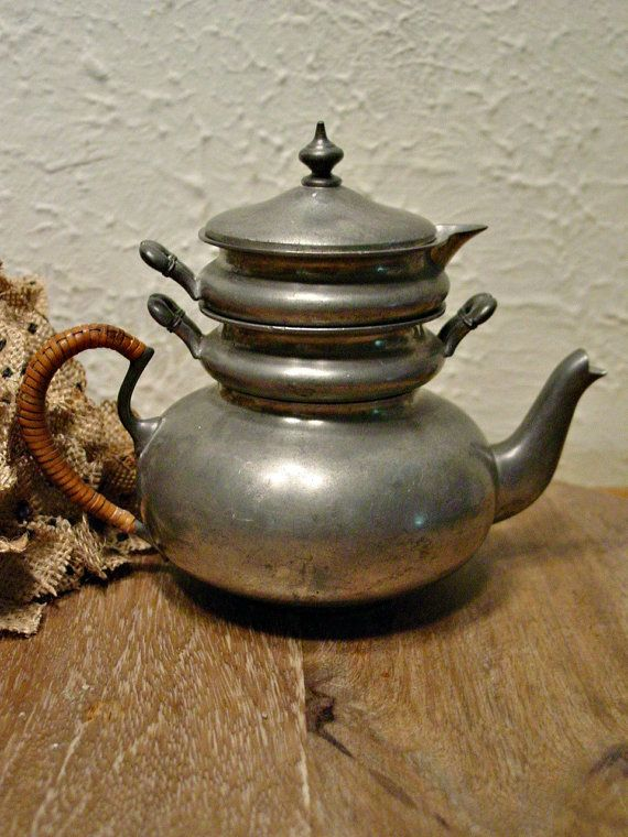 Pewter Teapot for One - Vintage Pewter - Farmhouse - Rustic - French ...