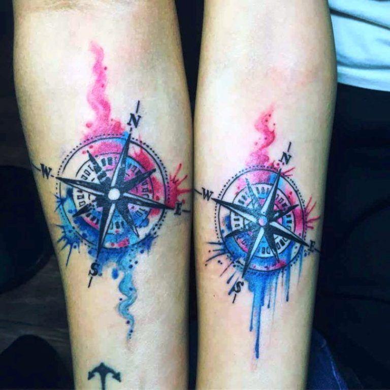 Compass Couple Tattoos