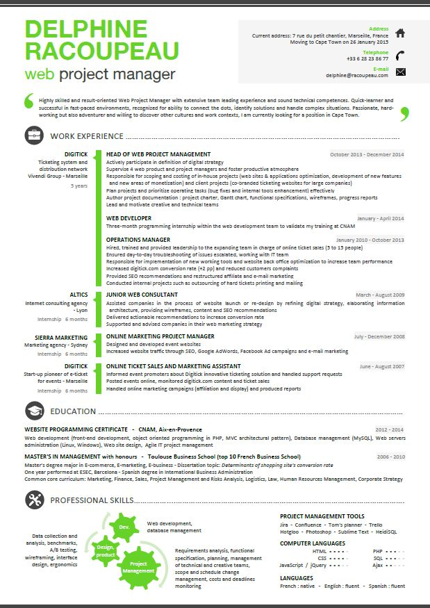 Resume For Project Manager Cv Web Project Manager  Projects To Try  Pinterest  Web Project