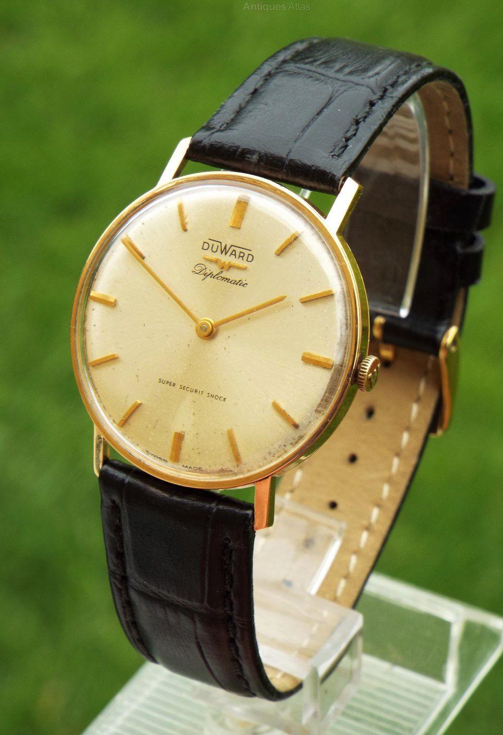 52efd41f0ca Antiques Atlas - Gents 18ct Gold DuWard Diplomatic Wrist Watch Relógios De  Senhor