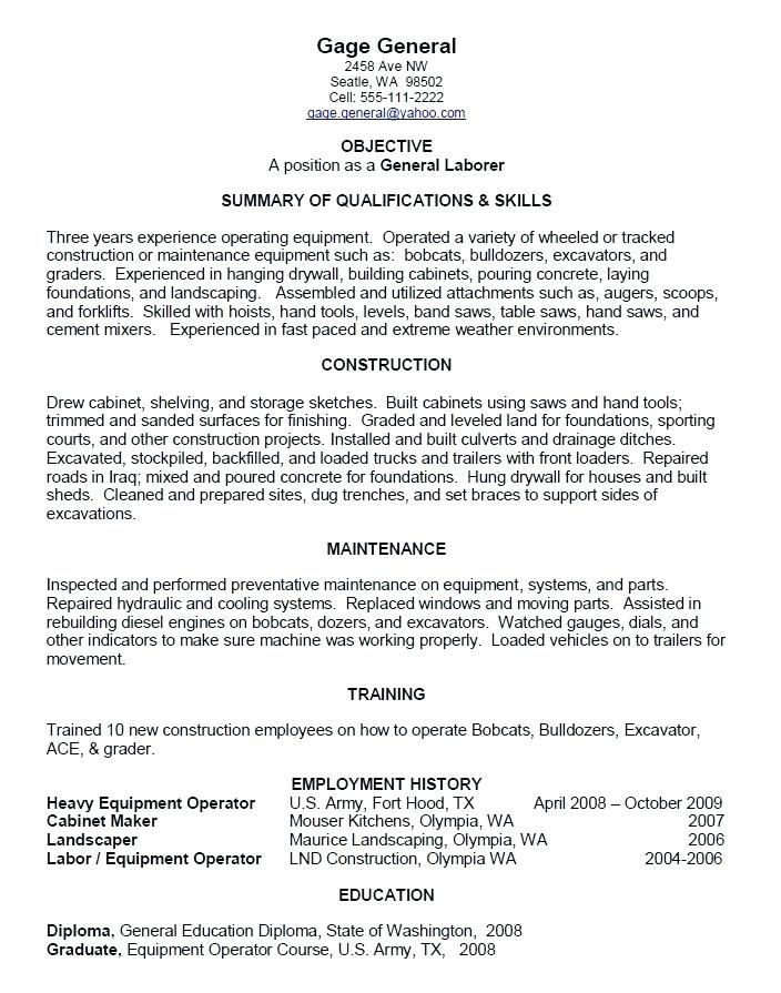 Resume Objective Examples For General Laborer