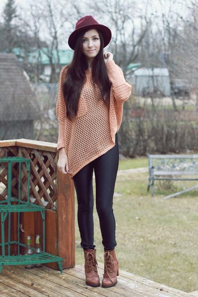 light pink awwdore sweater - brown romwe boots - black American ...