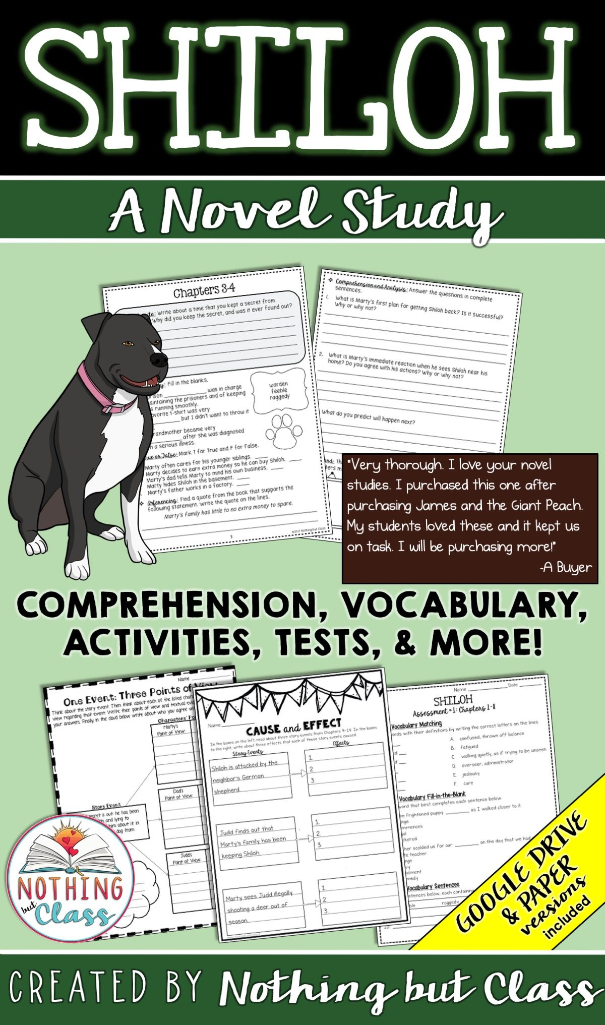 Shiloh Comprehension Worksheets   Printable Worksheets and Activities for  Teachers [ 2033 x 1200 Pixel ]